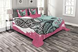 Lunarable Modern Bedspread, French Bulldog Split with and Paintbrush Vivid Artwork Print, Decorative Quilted 3 Piece Coverlet Set with 2 Pillow Shams, King Size, Seafoam White