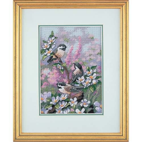 Dimensions Gold Collection Counted Cross Stitch Kit, Chickadees in Spring, 16 Count Dove Grey Aida, 5'' x 7''