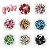 8 scatole nail art 3D rosa strass set, gemme miste metallo fiore charms perla per la decorazione delle...