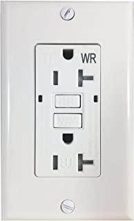 BYBON 20AMP Duplex Self-Test Tamper Resistant & Weather Resistant (TR/WR) GFCI Receptacle Outlet,Two LED Light Indicator,Wallplate and screws included,White,UL 2015 (1 PACK)