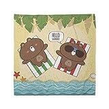 Lunarable Cartoon Bandana, Funny Bears Sunbathing, Unisex Head and Neck Tie