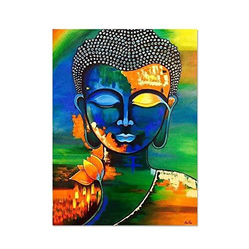 Cartel abstracto de la estatua de Buda Arte de la pared Pintura de la lona Impresión moderna Estatua de Buda Imagen Cartel budista Decoración de la sala de estar familiar-20X30cm_Unframed_DM464-4