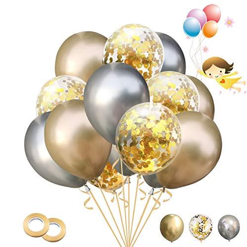 Globos de Confeti 30 Piezas Globos de Látex Metálicos Globos para Cumpleaños, Bodas Aniversario, Bautizos Comunion Baby Shower, Graduacion Fiesta Decoracion (Plata)