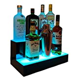 Liquor Bottle Display LED Shelf - 2 Step Multicolor Lighted Bar Stand 16 inch
