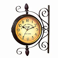 BELMAKS Vintage Double Sided Wall Clock Vintage Industrial Wall Clock for Outdoor Decorative Wall Art Antique Decor Wall Office Wall Clock Silent Kitchen Wall Clock 360 Degree Rotate Antique Wal