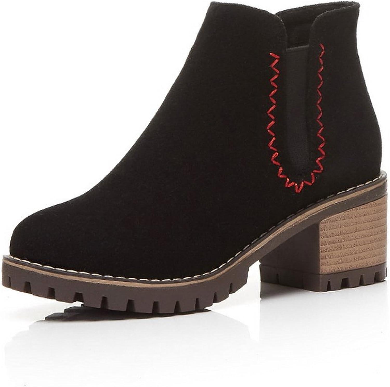 BalaMasa Womens Boots No-Closure Chunky Heels Suede Boots ABL10481