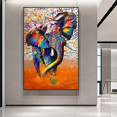 wZUN Color Elefante Arte Graffiti Animal Lienzo Pintura Carteles e Impresiones Sala de Estar decoración del hogar Arte de la Pared 60x80 Sin Marco