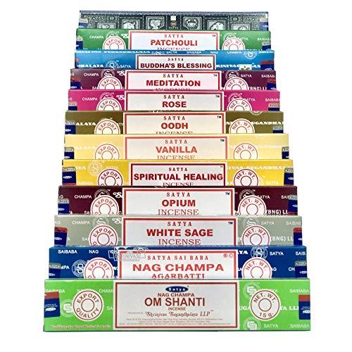 Om Shanti Satya Nag Champa Incense Set AM 12 x 15 gram Packs