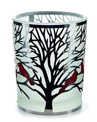 Portacandela in vetro votive argento Filigre (Natale) rosso uccelli 7cm