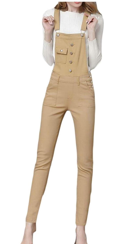 maweisong ポケット付き女性クラシックバギーデニムビブオーバーオール