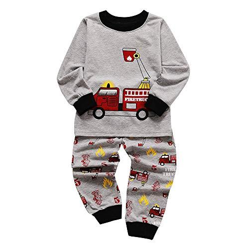 Baby Jongens Meisjes Pyjama Set Peuter Kids Cartoon Gedrukte Tops Broek Outfits Set Kleine Pyjama Slaapmode Outfits Set Kind Lange Mouw Nachtkleding Kleding Katoen PJS Sets 2 PCS Leeftijd 1-6 Jaar