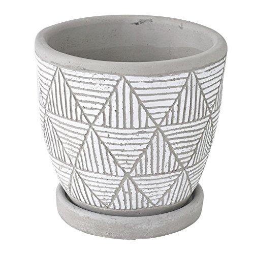 SPICE OF LIFE(スパイス) 植木鉢 レリーフ プランター トライアングル ホワイト 直径12.5×12cm セメント 底穴あり 皿付き CCGH1830WH