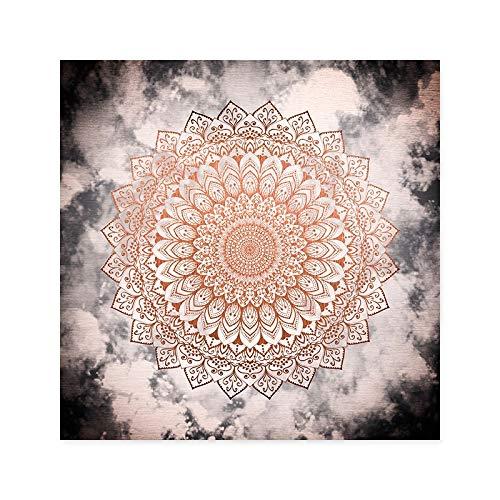 Tibetanische Thangka. Abstrakte Rose Nacht Mandala Leinwand Gemälde Poster und Drucke Wandkunst Bilder Für Wohnzimmer Dekoration Kein Rahmen (Color : Picture A, Size (Inch) : 20x20cm no Frame)