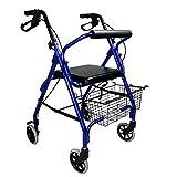 Andador de aluminio ultraligero con 4 ruedas plegable con cesta incluida