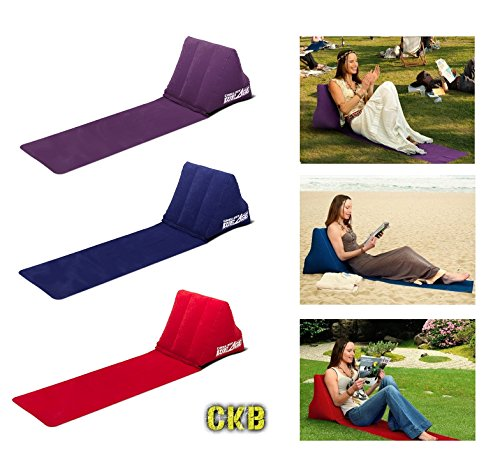 CKB LTD® Chill out Portable Travel Inflatable Lounger with Wedge Shape del Asiento Amortiguador Trasero Soporte Pillow Silla de Lumbar Camping y Festivales (Purple)