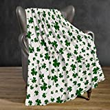 Abaysto St. Patrick's Day Throw Blankets, Shamrock Patrick Patio Decorative Bedspread Flannel Plush Throw Blanket All Season for Couch Bed Sofa, 50 x 60 Inch