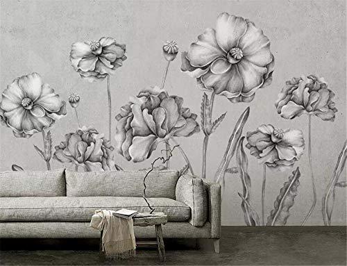 Wallpapers muurschildering aanpassen 3D behang met de hand beschilderd zwart en wit bloemen muurschildering woonkamer slaapkamer achtergrond 3D behang 400 * 280cm