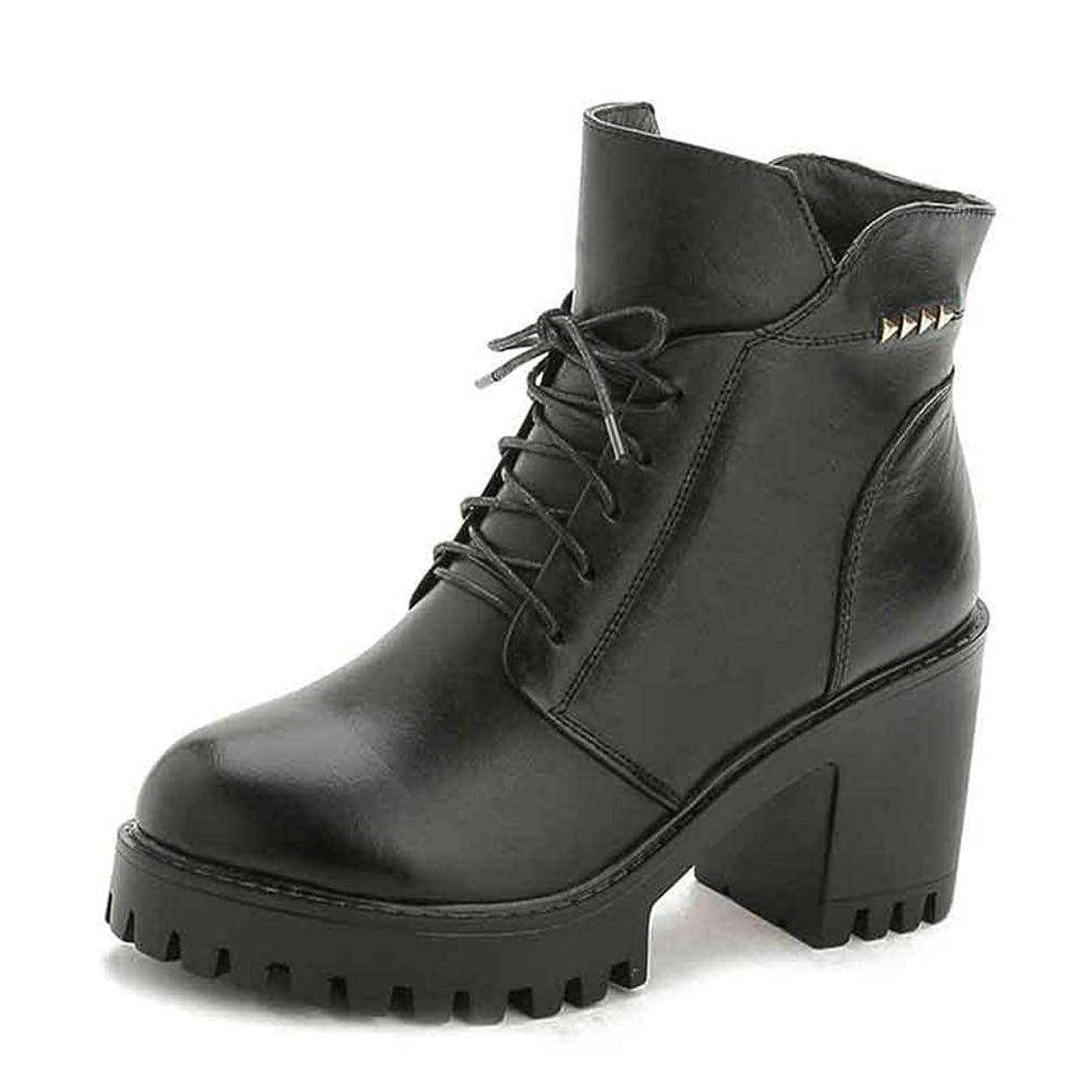 孤独水銀の安定[WOOYOO] マーティンブーツ レディース 8cmヒール 編み上げ ショートブーツ 美脚 太めヒール オシャレ チャンキーヒール 軽量 コンフォート 3E 婦人靴 痛くない 革靴 レザー 柔らかい ミドルカット ブラック レッド