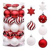 Navidad Bolas de Plastico,Verde Bolas de Navidad,Adornos de Navidad ,Bolas de Navidad Set,Bolas de Navidad Inastillable,Bolas Navideños Inastillable Plástico,Bolas de Navidad (rojo y blanco)