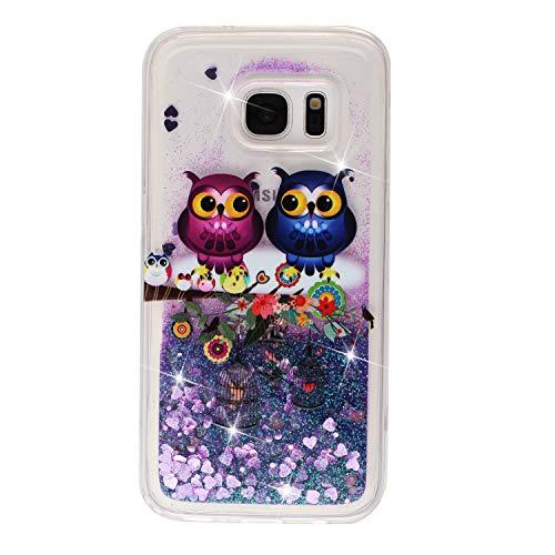 BIZHIKE Cover per Samsung Galaxy S7, Glitter Bling Liquido Custodia Sparkly Luccichio Pendenza TPU Silicone Protettivo Morbido Brillantini Quicksand Case - Gufo
