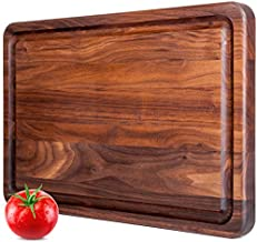 Large Walnut Wood Butcher Block by Mevell with Juice Drip Groove, Big Hardwood Chopping and Carving Countertop Block, Made in Canada (Walnut, 18x12x1.25