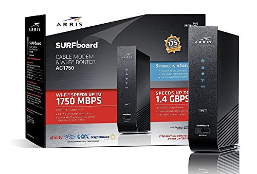 ARRIS SURFboard (32x8) DOCSIS 3.0 Cable Modem Plus AC1750 Dual Band Wi-Fi Router, Certified for Comcast Xfinity, Spectrum, Cox & more (SBG7580AC McAfee), SBG7580AC-MCAFEE, Black