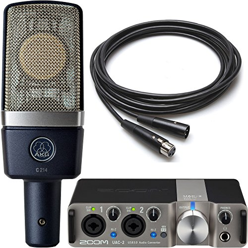 AKG & Zoom Studio Recording Pack with AKG C214 Condenser Microphone and Zoom UAC-2 USB 3.0 Audio Interface and 10