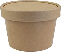 8 oz Freezer Containers And Lids - Kraft Paper To Go Cups - Durable Heavy Duty Small Ice Cream Containers! Non-vented Lids Prevent Freezer Burn! Frozen Dessert Supplies - 25 Count