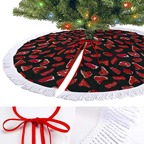 ODOKAY Christmas Tree Skirt Beef Steaks Meat Cuts Chalk Boar Holiday Decoration Round Xmas Tree Skirts for Home