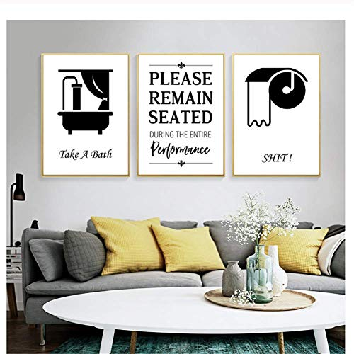 nr affiches en prints grappige badkamer wooncultuur zwart wit badkuip muurkunst poster toilet canvas schilderij-40x60cmx3 frameloos