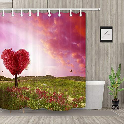 Boom van liefde in het voorjaar veld Douche gordijn Duurzame Stof schimmel Badkamer Accessoires Creatief met 12 Haken 180X180CM