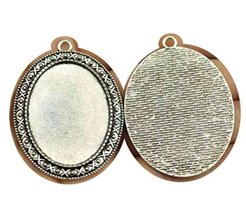 honggui 1111-8 piezas de 30 x 40 mm tamaño interior camafeo cabujón colgante para fabricación de joyas (chapado en plata envejecida)