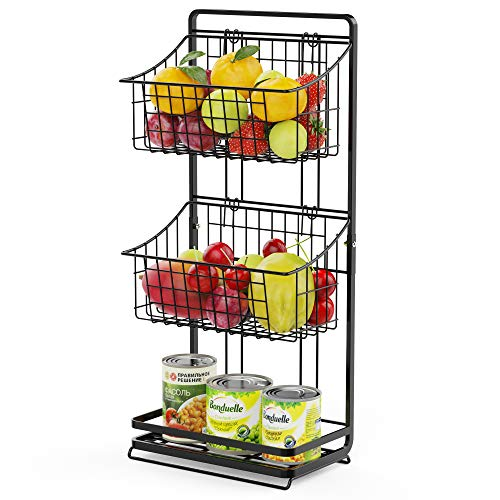 3-Tier Fruit Basket Stand, Cambond Mini Countertop Fruit Holder Market Basket Stand, Multifunctional Wire Storage Basket for Fruit, Produce, Snacks, K-cup, Toiletries, Toy, Black