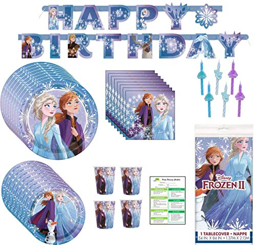 Disney Frozen Birthday Party Supplies Pack: Big/Small Plates, Cups, Napkins, Table Cover, Banner, Candles - 16 Guests