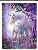 XZDPPTBLN Mantas de Franela Súper Suave de Lana Unicornio Animal Morado Mantas con Estampados Esponjosa y Cálida Mantas para la Cama y el Sofá 150cm x 200cm