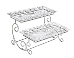 ELEGANT CAKE STAND: This beautiful 2 tier buffet serveware adds a touch of class and elegance to your dining room or party. This serving tray is the perfect way to display desserts, sandwiches and all kinds of food. THE BEAUTY OF GODINGER: This beaut...