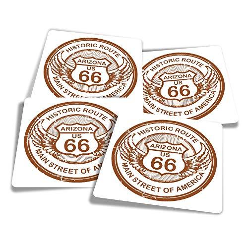 Adesivi in vinile (set di 4) 10 cm – Arizona Route 66 Tour America USA Fun Decalcomanie per computer portatili, tablet, bagagli, libri di rottami, frigoriferi #5742