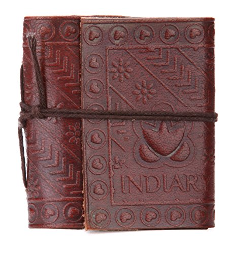 INDIARY Mini Pocket Notebook Leather Journal Made From Buffalo Leather And Handmade Paper 3x3 Inch