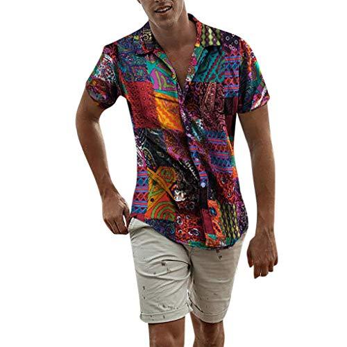 BaZhaHei Herren Neu Sommer Oversize Vintage T-Shirt Freizeithemd Freizeit Hemd Kurzarm Slim Reise Hawaiihemd für Männer Ethnische Casual Baumwolle Leinen Druck Bluse (5XL, Multicolor)