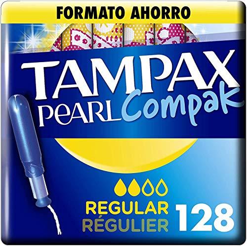 Tampax Pearl Compak Pearl Regular, Tampón con aplicador, ofrece comodidad, protección y discreción, 128 unidades