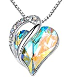 Leafael Infinity Love Heart Pendant Necklace with Opal White Birthstone Crystal for April, Jewelry Gifts for Women, Silver-Tone, 18'+2'