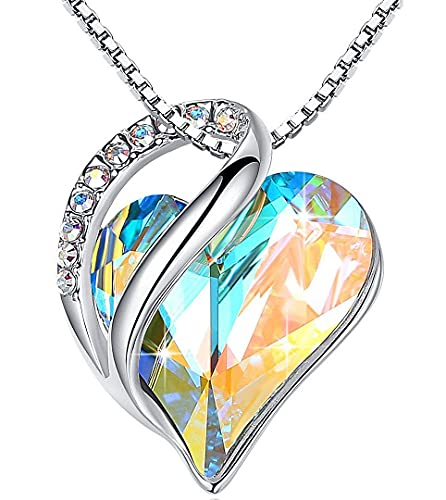 """Leafael Infinity Love Heart Pendant Necklace with Opal White Birthstone Crystal for April, Jewelry Gifts for Women, Silver-Tone, 18""""+2"""""""