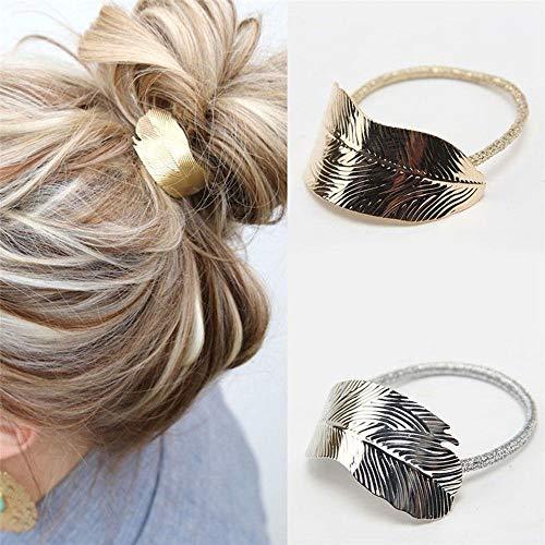 Weichuang - Banda de goma para el pelo, diseño de hojas de señora y mujer, banda elástica para el pelo, accesorio para fiestas, vacaciones, banda de goma (color: plata)