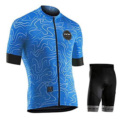 OJKYK Ropa De Ciclismo para Hombre Bicicleta MTB Camiseta Ciclismo Bicicletas Chaqueta Ropa Camisa Transpirable De Secado Rápido + 9D Gel Pantalones Cortos