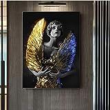 Lienzo de pintura de arte de 30x50cm sin marco, póster de gran tamaño, figura de mujer, pintura, negro y dorado, decoración moderna para el hogar, impresiones, imagen