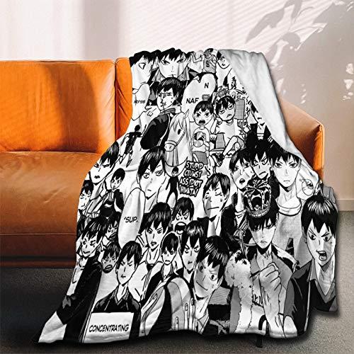 Haikyuu!!Hot Collage Comics Anime Manga Tobio Kageyama Manta de franela ultra suave, manta de forro polar de microfibra duradera, perfecta para sofá al aire libre pequeño 120 x 100 cm para niños