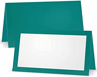 Teal Place Cards - Flat or Tent Style - 10 or 50 Pack- White Front with Solid Color Border Placement Table Name Seating Stationery Party Supplies (10, Tent Style)