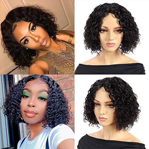 Fine Plus Curly Bob Wigs Human Hair Short Curly Bob Wig Middle Part Lace Wig Brazilian Deep Wave Virgin Human Hair Wigs for Black Women Natural Color Short Bob Water Wave Wigs(10inch, 150% density)