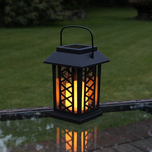 Festive Lights Garden Candle Lantern - Solar Powered - Flickering Effect - Amber LED - 17.5cm