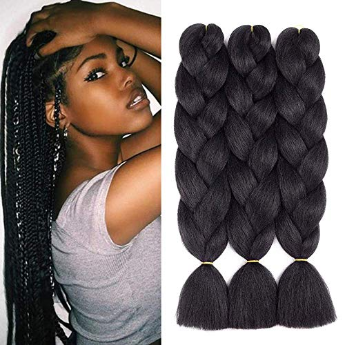 5 Pcs 24 pouces Noir Tressage Cheveux Jumbo Tressage Cheveux Extensions Synthétique Kanekalon Tressage Cheveux pour Extension de Cheveux Crochet Twist Tressage Cheveux(5pcs, Black)